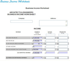 business income worksheets
